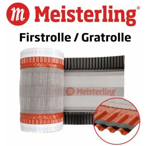 Meisterling Rouleau d'arêtier / Closoir de faîtage 320 mm x 5 m, 4 pcs. - PET anti-UV haute performance, non-tissé - bande centrale en tissu, noir (4x 012100000400)