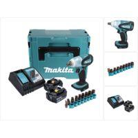 Makita DTW 251 RFJ 18 V Boulonneuse à chocs sans fil 230 Nm avec boîtier Makpac + 2x Batteries 3,0 Ah Li-Ion + Chargeur + Jeu de douilles 9 pièces