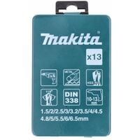 Makita D-54075 HSS-R Mèches Perceuse Métal Set - 13 pièces. DIN 338 118°