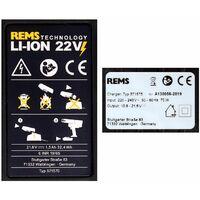 REMS Batterie Power Pack 21,6 V (22 V max): 1x Batterie 1,5 Ah ( 571570 R22 ) + Chargeur 90 W (571585)