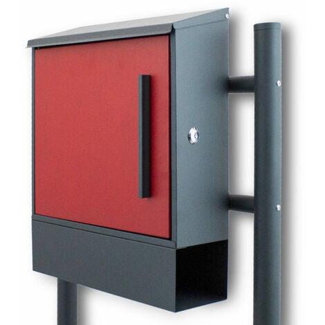 Standbriefkasten Briefkastenanlage mit Seitenschloss Dunkelgrau / Rot
