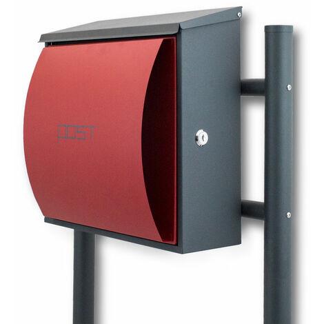 Design Standbriefkasten Briefastenanlage Seitenschloss Dunkelgrau / Rot