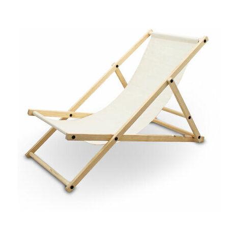 Liegestuhl Sonnenliege Gartenliege Holzliege Strandliegestuhl Campingstuhl Holz Klappbar (Beige)