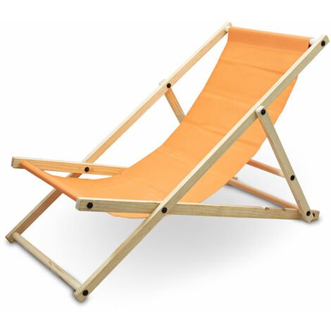 Liegestuhl Sonnenliege Gartenliege Holzliege Strandliegestuhl Campingstuhl Holz Klappbar (Orange)