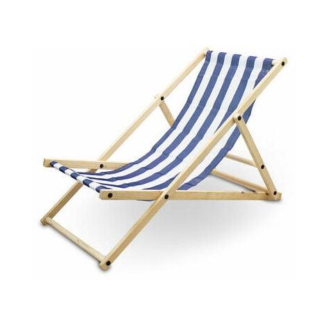 Liegestuhl Sonnenliege Gartenliege Holzliege Strandliegestuhl Campingstuhl Holz Klappbar (Blau/Weiß Gestreift)