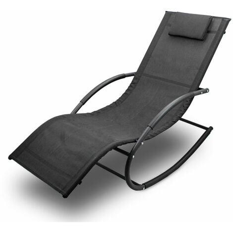 2x Sonnenliege Gartenliege Relaxliege Schaukelliege Liegestuhl Schaukelstuhl Set
