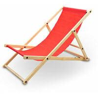 Liegestuhl Sonnenliege Gartenliege Holzliege Strandliegestuhl Campingstuhl Holz Klappbar (Rot)