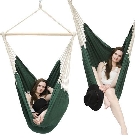 AMANKA Fauteuil Suspendu pour asseoir 2 personnes Hamac 185x130cm chaise 100% coton balançoire XXL 150kg siège pour se balancer avec pivot 360° Vert Foncé