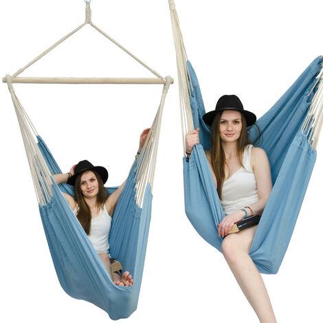 AMANKA Fauteuil Suspendu pour asseoir 2 personnes Hamac 185x130cm chaise 100% coton balançoire XXL 150kg siège pour se balancer avec pivot 360° Turquoise