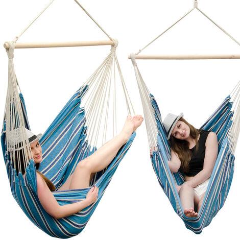 AMANKA Fauteuil Suspendu pour asseoir 2 personnes Hamac 185x130cm chaise 100% coton balançoire XXL 150kg siège pour se balancer avec pivot 360° Rayé Turquoise