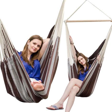 AMANKA Fauteuil Suspendu pour asseoir 2 personnes Hamac 185x130cm chaise 100% coton balançoire XXL 150kg siège pour se balancer avec pivot 360° Rayé Marron