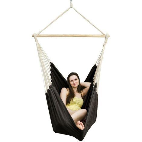AMANKA Fauteuil Suspendu pour asseoir 2 personnes Hamac 185x130cm chaise 100% coton balançoire XXL 150kg siège pour se balancer avec pivot 360° Noir