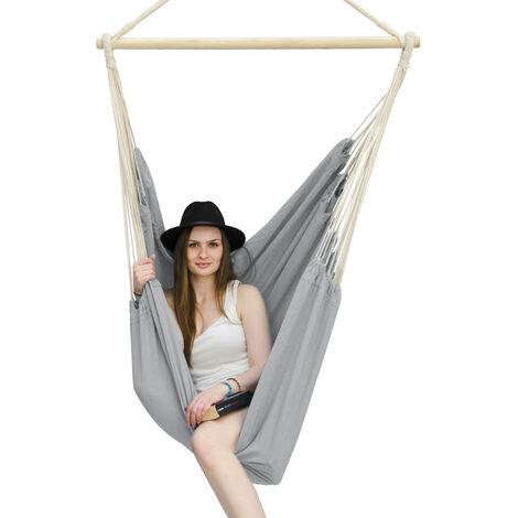 AMANKA Fauteuil Suspendu pour asseoir 2 personnes Hamac 185x130cm chaise 100% coton balançoire XXL 150kg siège pour se balancer avec pivot 360° Gris Clair