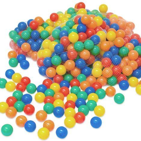 LittleTom 500 Boules de couleur Ø 6 cm de diamètre | petites Balles colorées en plastique jeu jouet pour enfants | mélange multicolore jaune rouge bleu vert orange pour remplir piscines châteaux gonflables tentes de jeux | qualité éprouvée