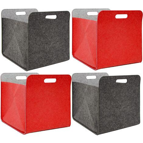 4 Boites De Rangement Feutre 33x33x38 Cm Kallax Panier Feutrine Ikea Gris Rouge 16573