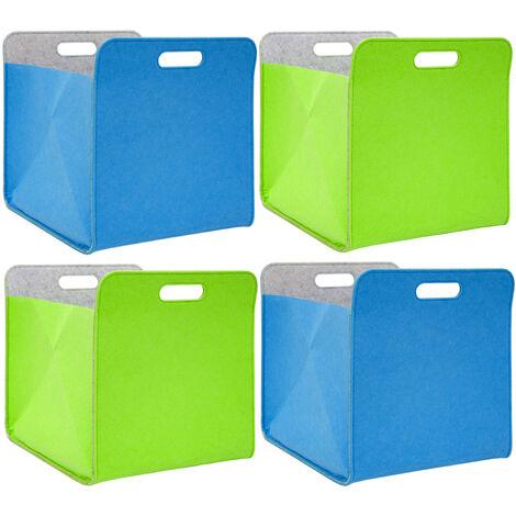4 Boites De Rangement Feutre 33x33x38 Cm Kallax Panier Feutrine Ikea Bleu Vert 16574