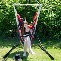 AMANKA Fauteuil Suspendu pour asseoir 2 personnes Hamac 185x130cm chaise 100% coton balançoire XXL 150kg siège pour se balancer avec pivot 360° Rayé Multicolore Foncé
