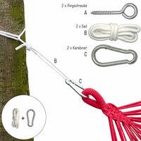 Kit pour Accrocher votre Hamac   Kit complet incl Cordes Mousquetons Vis à Anneau   Poids max. supporté 160 kg