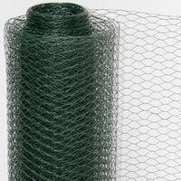 Grillage à mailles hexagonales + Poteaux | Rouleau de 10m | Hauteur 0,5m | Maillage 13x13mm | Incl 8 Poteaux 80cm de haut | Grillage métallique avec revêtement en PVC vert | idéal pour animaux et plantes