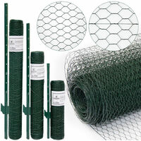 Grillage à mailles hexagonales + Poteaux | Rouleau de 25m | Hauteur 0,5m | Maillage 13x13mm | Incl 20 Poteaux 80cm de haut | Grillage métallique avec revêtement en PVC vert | idéal pour animaux et plantes