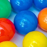 LittleTom 400 Boules de couleur Ø 6 cm de diamètre | petites Balles colorées en plastique jeu jouet pour enfants | mélange multicolore jaune rouge bleu vert orange pour remplir piscines châteaux gonflables tentes de jeux | qualité éprouvée