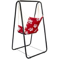 Balançoire complète: chaise + châssis en métal   Pour les enfants et les adultes   Avec accoudoirs et dossier   en nylon rembourrée   pour la maison et le jardin   rouge avec empreintes de chat