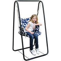 Balançoire complète: chaise + châssis en métal | Pour les enfants et les adultes | Avec accoudoirs et dossier | en nylon rembourrée | pour la maison et le jardin | bleu avec cercles