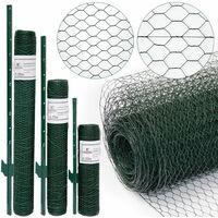 Grillage à mailles hexagonales + Poteaux   Rouleau de 15m   Hauteur 0,5m   Maillage 25x25mm   Incl 12 Poteaux 80cm de haut   Grillage métallique avec revêtement en PVC vert   idéal pour animaux et plantes