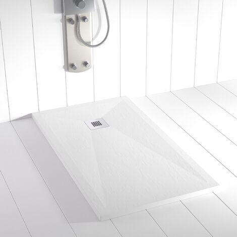 Receveur de douche Résine PLES Blanc RAL 9003 - 100x120 cm  - Blanc