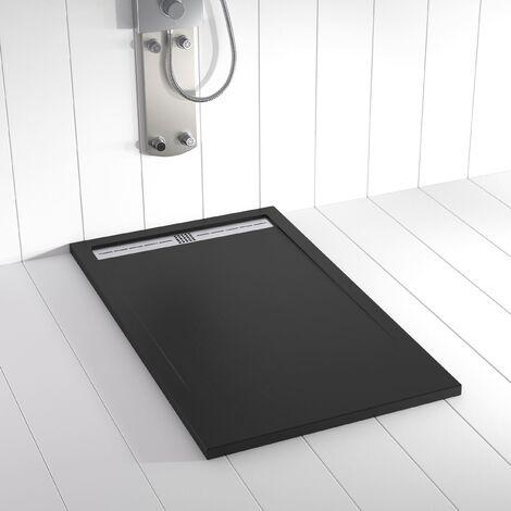 Receveur de douche Résine FLOW Noir RAL 9005- 70x90 cm