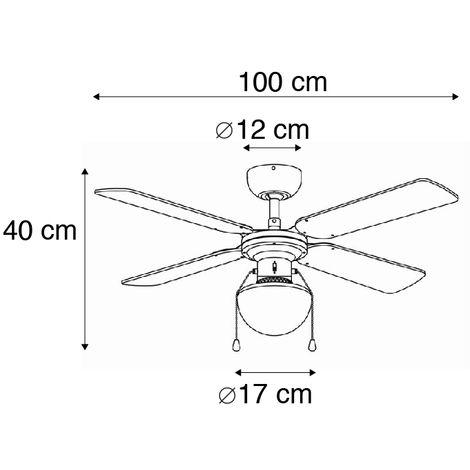 QAZQA Industriel Ventilateur de plafond industriel noir Magna Bois//Acier Noir Rond E27 Max 1 x 60 Watt//Luminaire//Lumiere///Éclairage//int/érieur//Salon//Cuisine