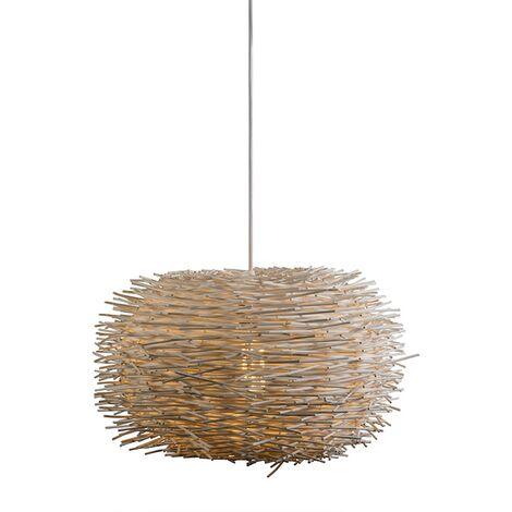 Lampe Suspension salle a manger rurale en rotin blanc - Hachette 45 Qazqa Design Luminaire interieur Rond