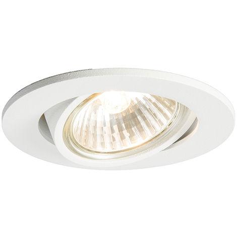 Spot inclinable intégré blanc - Cisco Qazqa Moderne Cage Lampe Luminaire interieur Rond