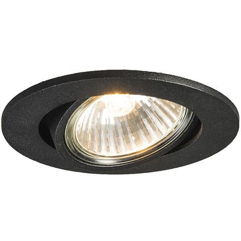Spot inclinable intégré noir - Cisco Qazqa Moderne Cage Lampe Luminaire interieur Rond