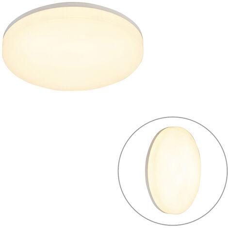 Plafonnier rond blanc avec LED et détecteur de mouvement - Plater Qazqa Moderne Luminaire exterieur Luminaire interieur IP65