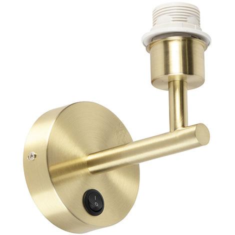 Applique Moderne 1 doré avec interrupteur - Combi Qazqa Moderne Luminaire interieur