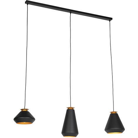 QAZQA mia - Suspension Design - 3 lumière - L 1200 mm - Noir - Design,Moderne - Éclairage intérieur - Salon | Chambre