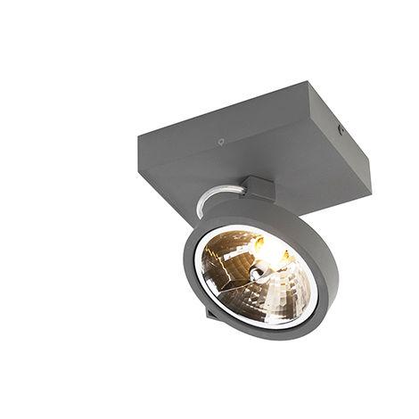Spot de Plafond Design gris réglable 1 lumière y compris LED - Go Qazqa Design Luminaire interieur Rond