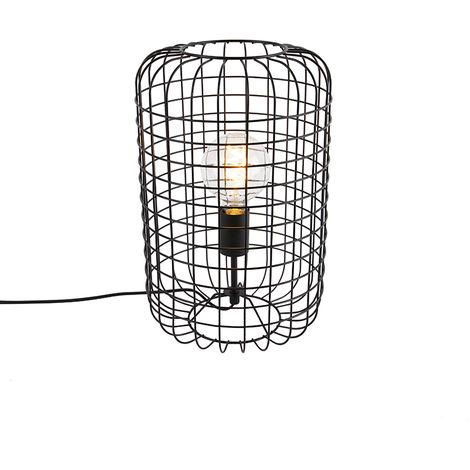 Lampe de table industrielle noire 40 cm - Bliss Vefa Qazqa Industriel Luminaire interieur Cylindre / rond