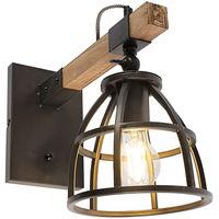 QAZQA arthur - Applique murale avec interrupteur Industriel - 1 lumière - L 18 cm - Noir - Rustique - Éclairage intérieur - Salon | Chambre | Cuisine | Salle à manger