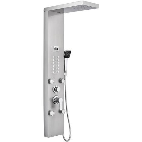 Auralum Duschpaneel Duschsystem Edelstahl Duschbrause Regendusche Duschset mit Wassertemperaturanzeige inklusive 4 Massagendüsen