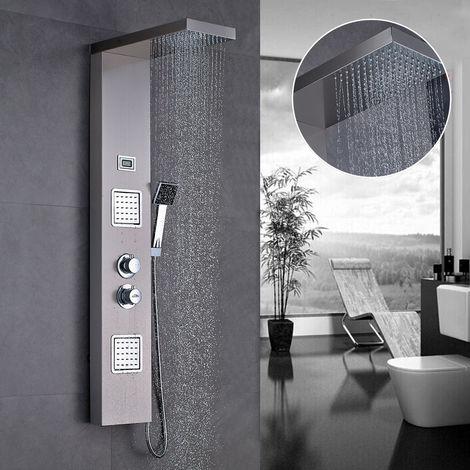 Auralum Duschpaneel Duscharmaturen Set mit Thermostat Regendusche Duschbrause Handbrause, Edelstahl Duschsystem Duschset mit LED Wassertemperatur Dispaly