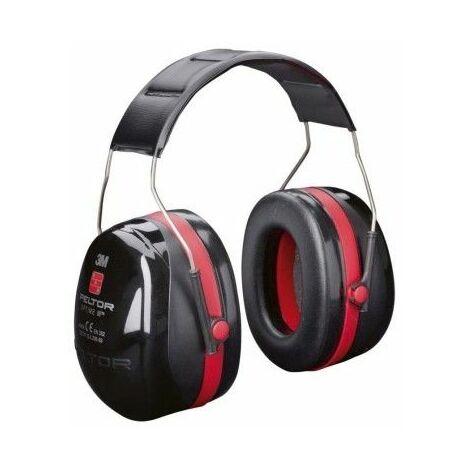Protector Auditivo Antiruido Negro/Rojo Optime 3 Diadema 3M