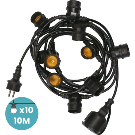 Guirlande Guinguette IP65 10m Noire Raccordable - Guirlande Lumineuse pour ampoule E27 10 Bulbes - Guirlande Guinguette Extérieure pour Terrasse Jardin Bar - Noir