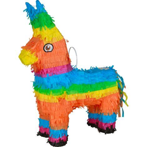 Pinata Donkey Multicolore 41cm - Pinata Traditionnelle Mexicaine pour anniversaire Enfant - Kit Anniversaire Jouet Enfant Idéal pour les Fêtes ou anniversaire fille - Multicolore