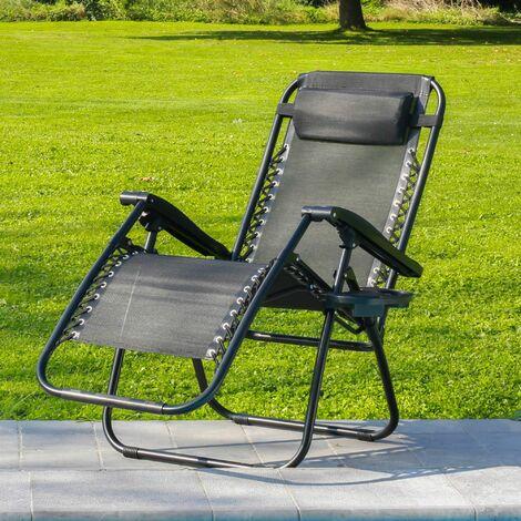 Transat Jardin Pliable Noir - Bain de Soleil avec coussin rembourré et porte-gobelet amovible - Chaise Longue 165 x 112 x 65, Pieds anti-dérapants - Noir