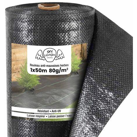 Toiles de Paillage 80g/m² - Geotextile Anti Repousse 50M pour Jardins Potagers - Bache Mauvaise Herbe 80g pour potager - Noir