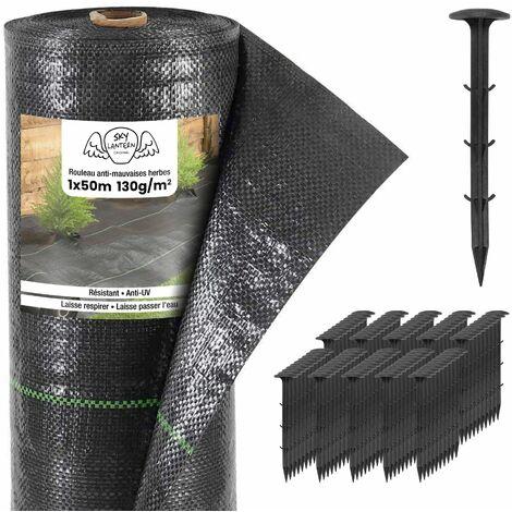 Toiles de Paillage 130g/m² avec Sardines en Plastique - Geotextile Anti Repousse 50M pour Jardin Potager - Bache Mauvaise Herbe 130g pour potager