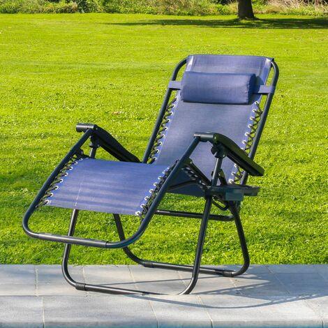 Transat Jardin Pliable en Toile Beige -Bain de Soleil Inclinable à 160° Zéro Gravité - Chaise Longue Jardin 165 x 112 x 65, Pieds anti-dérapants, Structure Acier - Bleu