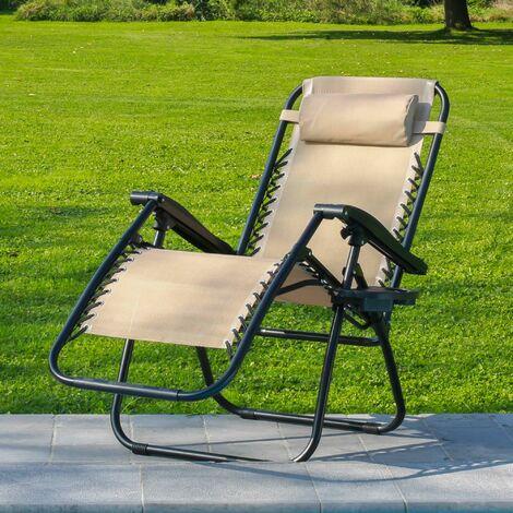 Transat Jardin Pliable Beige - Bain de Soleil avec coussin rembourré et porte-gobelet amovible - Chaise Longue 178 x 110 x 67, Pieds en caoutchouc anti-dérapants et Structure en Acier - Beige